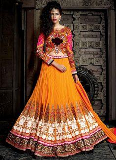 We have wide range of heavy work designer lehenga choli. Grab this net orange lehenga choli.