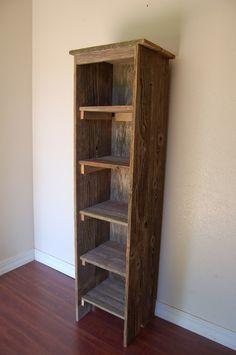 Farmhouse Shelf Wood Bookcase. Tall Bookcase. Skinny Bookcase. Skinny Shelf…