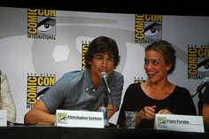 Christopher Gorham and Piper Perabo at the Covert Affairs panel in Ballroom 20 on Thursday, July 21st at San Diego Comic Con 2011.     I like this one