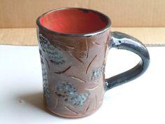 Hand Made Hand Carved Wheel Thrown Ceramic Mug Pottery Mug Black and Red Mug Blue and Brown Mug Large Mug Large Handle Mug