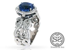 Huntington Beach Jewelry | Custom Sapphire & Diamond Fleur De Lis Engagement Ring - I WANT THIS