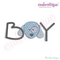 Baby Boy with Dog - 7 Sizes! | Baby | Machine Embroidery Designs | SWAKembroidery.com Embroitique