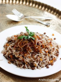 Mujaddara Lentils and Rice - Together, rice & beans are a complete protein
