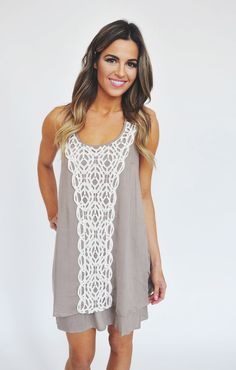 Dottie Couture Boutique - Taupe Crochet Ruffle Dress, $48.00 (http://www.dottiecouture.com/taupe-crochet-ruffle-dress/)