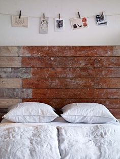 bedroom - like the bed head (old floorboards?) and the string above