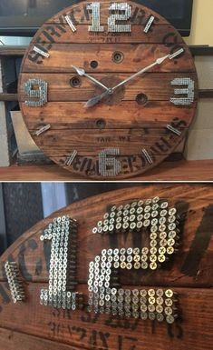 wall clock design 823525481849577173 - Never again late with an XXL wall clock – 60 ideas – living ideas …- Nie wieder spät mit einer XXL Wanduhr – 60 Ideen – Wohnideen und Dekoration Make XXL wall clock out of screws - Source by titireynaud Easy Craft Projects, Wood Projects, Tuscan Wall Decor, Wall Clock Design, Clock Wall, Diy Clock, Clock Ideas, Wood Clocks, Diy Home Crafts