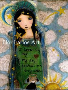 In heaven with my Dog Angel Folk Art 6 x 8 inches by FlorLarios, $15.00