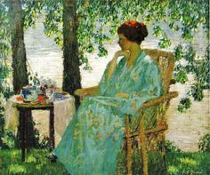 Japanese  by American artist Rae Sloan Bredin (American painter, 1881-1933) Reverie 1915.