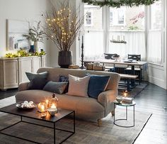 The-look-homes&gardens-christmas-finishing-touches-4Rectangular coffee table, £499, Content by Terence Conran at John Lewis. Holmfirth sofa in Jura Neptune linen, £1,734, Sofas & Stuff. Maya rug, £8,182, Luke Irwin. Hammering rug, €165, Broste Copenhagen. (On coffee table) Nordic lantern, £15, The White Company. Lantern JF-S, €70, Tine K Home. Bindi lantern, £5.95, Nkuku.