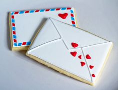 Valentine's Love Letter Sugar Cookies ~ I would bake these and mail them as a Valentine!  :)