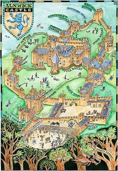 Sarah Farooqi - Illustrated map of Alnwick Castle, Northumberland Alnwick Castle, Castles In England, Wars Of The Roses, Tudor History, Map Design, Cartography, Map Art, City Photo, Medieval