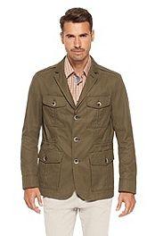 'Closen' | Cotton Jacket with Leather Trim #bossblack