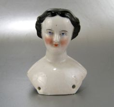 "China Doll Head Bow Bun c.1860 Antique Hand Pressed 3.25"" Fancy Hair Style"