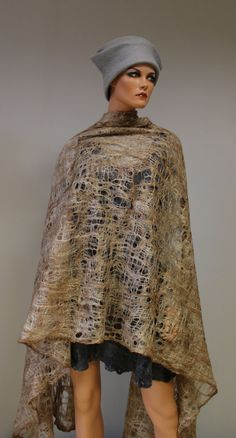 Felted shawl  'Cacao frost'. €70.00, via Etsy.
