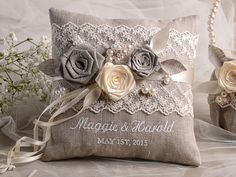 Lace Wedding Pillow Ring Bearer Pillow Embroidery Names, shabby chic natural li. Lace Wedding Pillow Ring Bearer Pillow Embroidery Names, shabby chic natural linen Wedding Ring Cushion, Wedding Pillows, Wedding Linens, Lace Wedding, Elegant Wedding, Perfect Wedding, Shabby Chic Pillows, Shabby Chic Decor, Pillow Embroidery