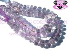 Pink Amethyst Faceted Roundel (Quality A) Shape: Roundel Faceted Length: 18 cm Weight Approx: 25 to 27 Grms. Size Approx: 9 to 11 mm Price $23.40 Each Strand