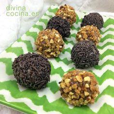 Trufas de galleta Desert Recipes, Mini Cakes, Flan, Margarita, Buffet, Almond, Deserts, Food And Drink, Chocolate Blanco