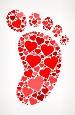 Footprint Red Hearts Love Pattern vector art illustration