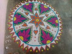 Freehand rangoli design kolam done in one competition and i got second price for this kolam