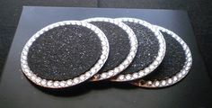 BLACK & BLING COASTERS Set of 4 in sparkling black eco felt w/ clear rhinestones on Etsy, $16.00