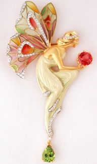 Lalique delicate fairy, but with use of intense coloured semi precious Fire Opal and Peridot