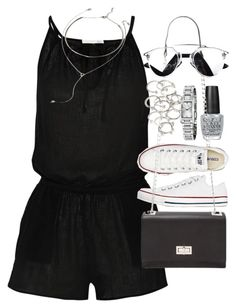"""""""Outfit for summer"""" by ferned ❤ liked on Polyvore featuring OPI, Skin, Converse, Forever 21 and Burberry"""