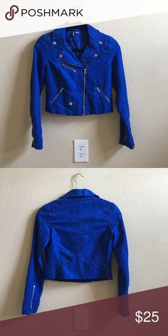 H & M biker jacket Cobalt blue with a velvet like texture super fun! H&M Jackets & Coats