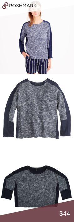 """JCREW Navy Blue Colorblock Jaspe Wool Sweater Absolutely excellent condition! This gorgeous navy blue colorblock jaspe wool sweater from JCREW features an oversized roomy fit and drop sleeves. Made of a wool blend. Measures: bust: 52"""", total length: 23"""", sleeves: 18"""" J. Crew Sweaters Crew & Scoop Necks"""