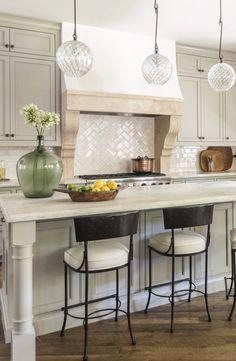 Marie Flanigan Interiors - Rangehood Run Down - Stone Range Hood - Subway Tile Back Splash Kitchen Vent Hood, Kitchen Stove, Kitchen Redo, Home Decor Kitchen, Kitchen Backsplash, New Kitchen, Home Kitchens, Kitchen Dining, Kitchen Remodel