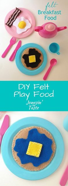 Encourage your kids during playtime to enjoy their breakfasts with this simple and easy DIY felt breakfast food. This adorable set includes pancakes, syrup, butter, bacon, and eggs. Easy Felt Crafts, Fun Diy Crafts, Felt Diy, Diy Craft Projects, Crafts For Kids, Felt Projects, Sewing Projects, Craft Ideas, Felt Food Patterns