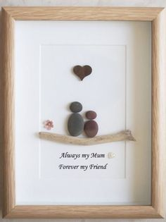 Pebble Art framed Picture  Mothers Day  Mother and Child