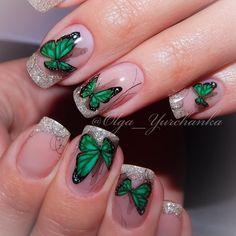 25 Elegant Emerald Green Nails Designs For You Butterfly Nail Designs, Green Nail Designs, Winter Nail Designs, Colorful Nail Designs, Acrylic Nail Designs, Nail Art Designs, Acrylic Nails, Nail Length, Green Nails