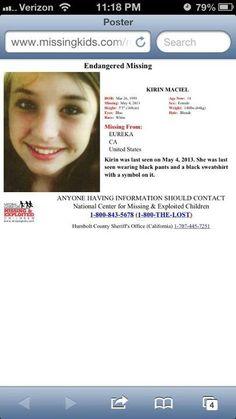 5/15/13: FOUND SAFE!  (5/4/13: Kirin Maciel, 14, missing from Eureka, CA.)
