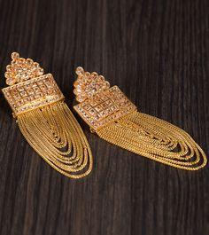 Golden Alloy Metal Kundan & Stone Embellished Earrings