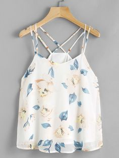 Shop Floral Print Criss Cross Back Cami Top online. SheIn offers Floral Print Criss Cross Back Cami Top & more to fit your fashionable needs. Crop Top Outfits, Cute Casual Outfits, Cute Summer Outfits, Spring Outfits, Girl Outfits, Fashion Outfits, Cami Tops, Cute Tank Tops, Miss Mode