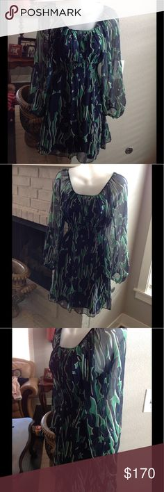 BCBGMAXAZRIA Silk Dress Beautiful silk print BCBGMAXAZRIA dress. Excellent condition. BCBG Dresses Midi