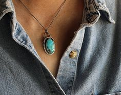 """Sky Watcher Turquoise Necklace . OOAK Handcrafted . Compass Turquoise . 16"""" Sterling Silver Chain"""