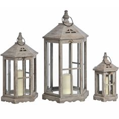 Set of 3 Brown Hexagonal Lanterns | From Baytree Interiors