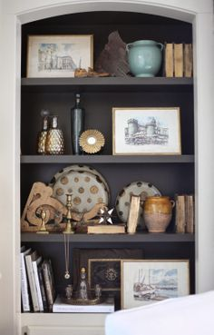Eclectically dressed shelves