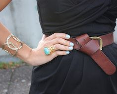 Details - YSL ring. Love the looped belt, too!