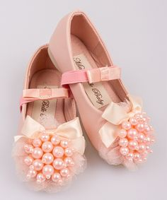 Another great find on #zulily! Pink Pearl Cluster Bow Ballet Flat by Mia Belle Baby #zulilyfinds