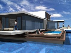Is it really possible to live on a houseboat?different types of houseboats that are commonly used as fulltime dwellings of vacation homes. Nutec Houses, Modern Houses, House Plans With Pictures, Exterior Rendering, Floating House, Unusual Homes, Courtyard House, Tiny House Movement, Yacht Design