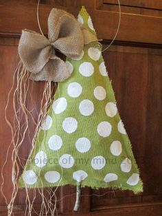 Burlap Christmas Tree Burlap Door Hanger Polka Dot by nursejeanneg, $28.00