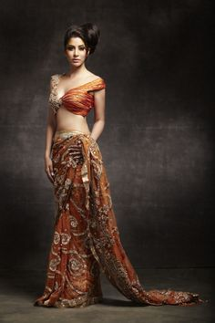 Orange saree #saree #sari #blouse #indian #outfit  #shaadi #bridal #fashion #style #desi #designer #wedding #gorgeous #beautiful