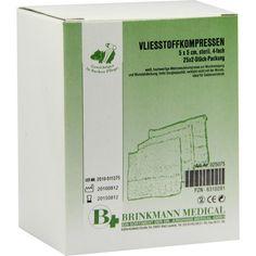 VLIESSTOFF-KOMPRESSEN 5x5 cm steril 4fach:   Packungsinhalt: 25X2 St Kompressen PZN: 06310291 Hersteller: Brinkmann Medical ein…