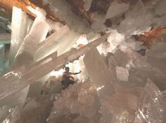 Cave of the Crystals in Chihuahua, Mexico.  These selenite crystals remind of something out of the Superman movies or something!!