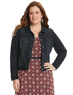 A must-have for every fashionista, our denim jacket reimagines the classic look with a modern high-low silhouette and a rich, blue-black wash. Longer in front and contoured to flaunt sexy curves, this versatile jacket goes any and everywhere, with timeless details like flapped chest pockets and single-button cuffs. Button-down closure and slash pockets complete the look. lanebryant.com