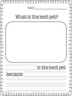 With this opinion writing lesson, students will write their opinions about the animal they think is the best pet. Kindergarten students and graders will benefit from the differentiated publishing pages in this 21 page opinion writing packet. 1st Grade Writing, Kindergarten Writing, Kids Writing, Teaching Writing, Writing Activities, Writing Ideas, Teaching Ideas, Writing Worksheets, Opinion Writing