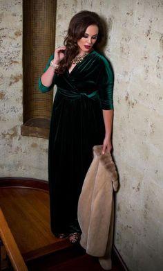 NEW KIYONNA Lane Bryant black velvet maxi wrap dress 1x #KYONNA #Maxi #Formal