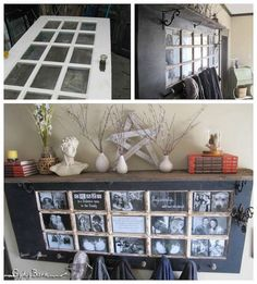 Turn an old wood door into a picture frame mantel. Great idea!